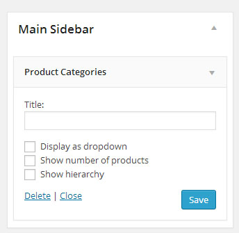 Products Category Widget