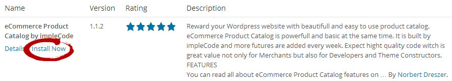 eCommerce Product Catalog in WordPress Repository