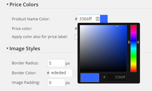 Product Page Colors