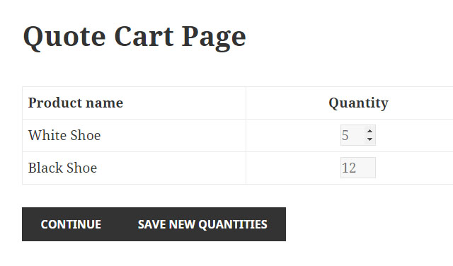 Quote Cart Page