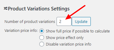 Number of product variations settings screen