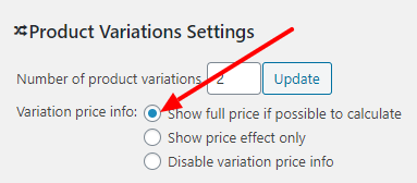 Variation Price Info settings screenshot