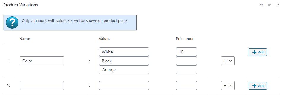 Variations Add Box product edit box screenshot