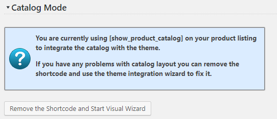 Catalog Integration Shortcode Info