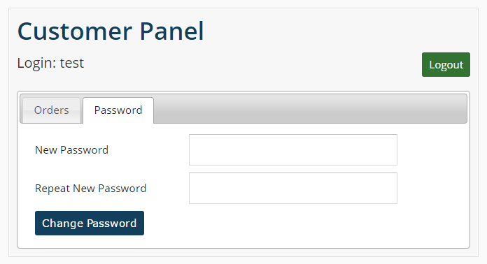 Customer Panel Password Change
