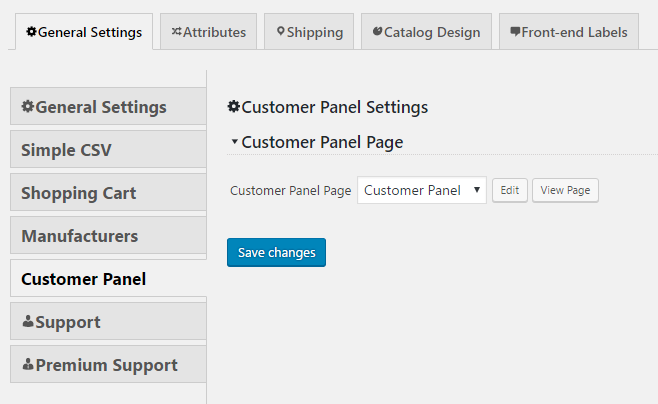 Customer Panel Settings