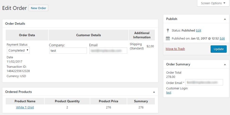 Order Details Screen