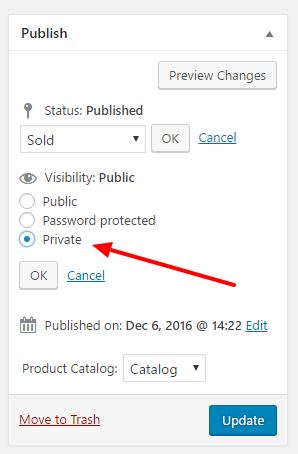 Product Private Status