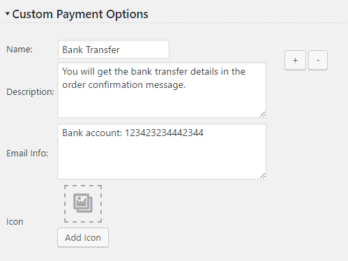 Custom Payment Options