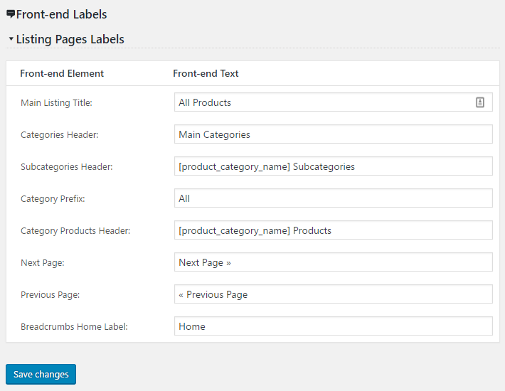 Product Listing Labels