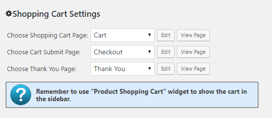 Shopping Cart Pages Configuration