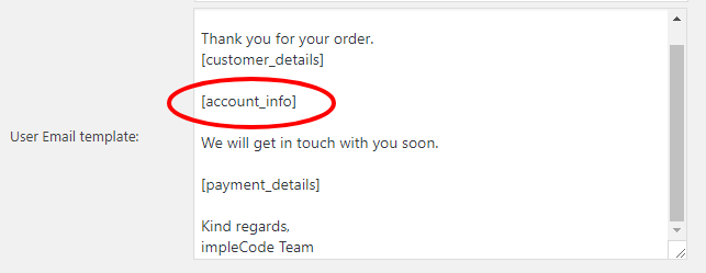 Order Confirmation Account Info