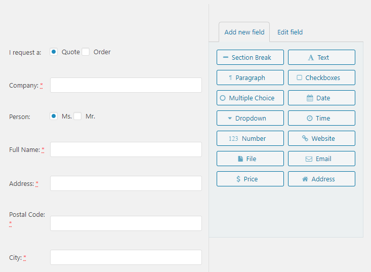 Quote Checkout Customizer Form