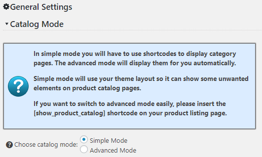 Catalog Integration Settings Simple