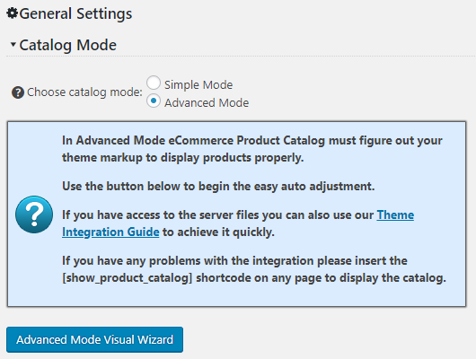 Default Catalog Integration Settings