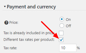 Per Product Tax Settings