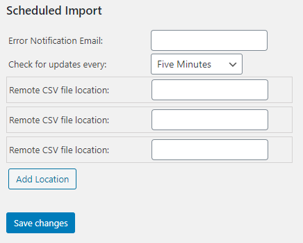 Scheduled CSV import settings