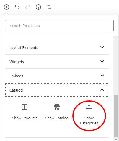 Insert Show Categories block