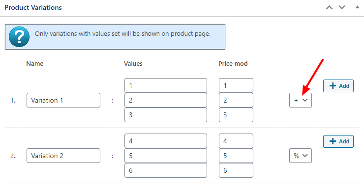 Variations Price Modification settings screenshot