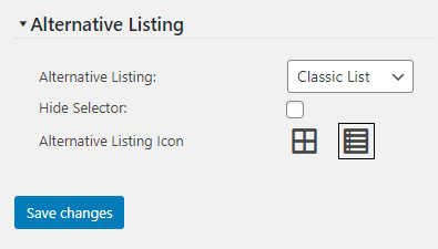 Alternative Listing Template settings