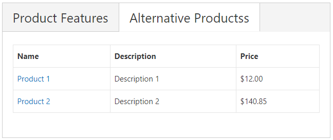 Alternative Products Table
