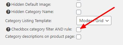 Checkbox category filter logic switch settings screenshot