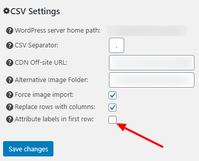 Attribute Labels only in the first row of the CSV file