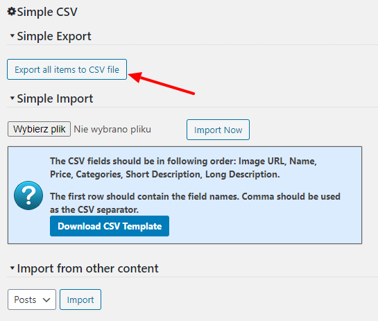 Simple product export settings screenshot