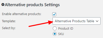 Select Alternative Products Table