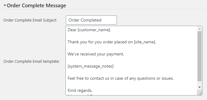 Order Completed Message