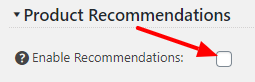 Product Recommendations Enable settings screen