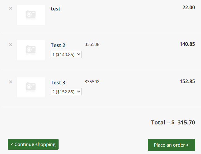 Quantity Disabled Shopping Cart Template settings screenshot