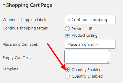 Shopping Cart Page Template settings screen