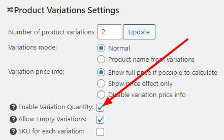 Variation Quantity Checkbox settings screen