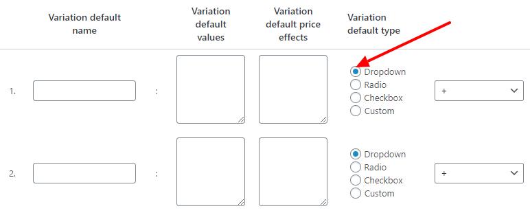 Variation Type Default settings screenshot