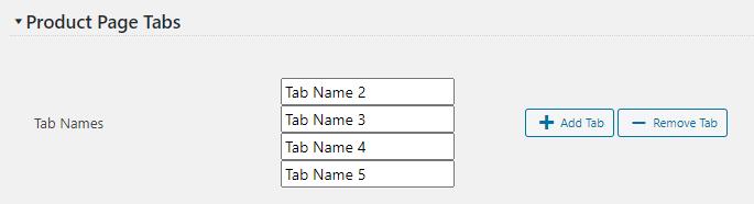 Custom Product Page Tabs settings screenshot