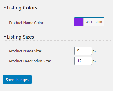 Product Listing Customization Settings screenshot
