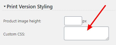 Print Version Custom Styling settings screen