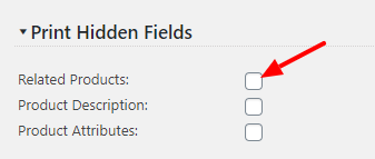 Print Version Hidden Content settings screen