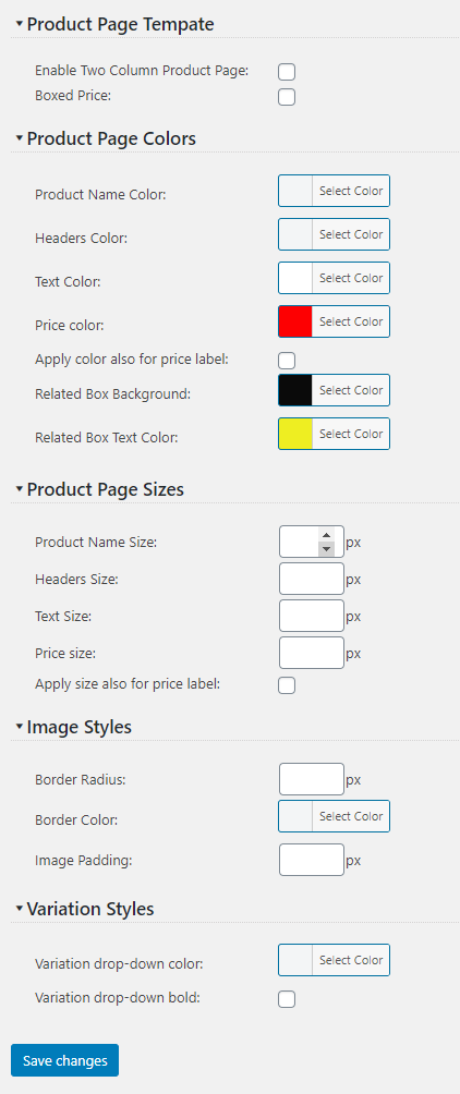 Product Page Styling Adjustments settings screenshot