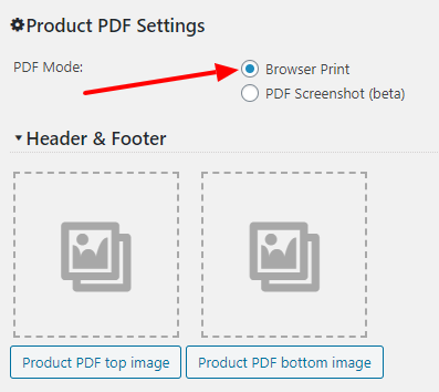 Product Print PDF Mode screen settings