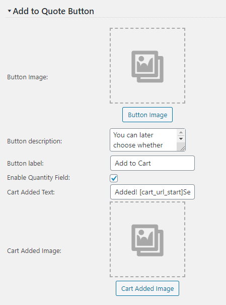 Quote Add to Cart Settings Screen