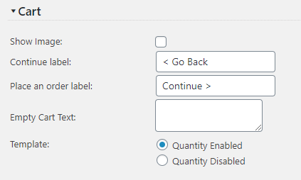 Quote Cart Page Customization Settings Screen