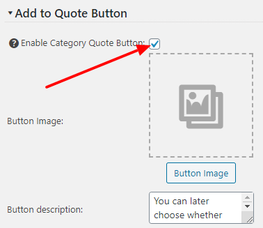 Enable Category Quote Button checkbox