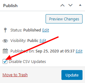 Exclude product from CSV update checkbox