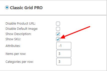 Display SKU Checkbox in Classic Grid PRO Settings