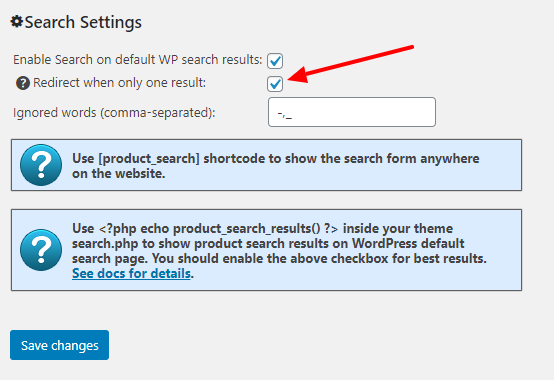 Redirect Search Results Option