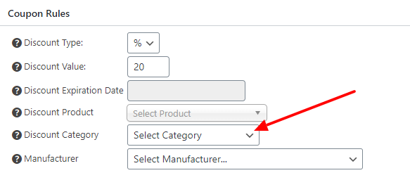 Coupon applied to a product category