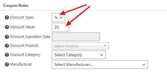 Coupon type and value selectors
