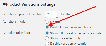 Product Name from Variations enable settings